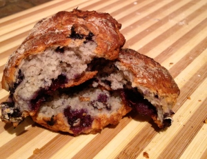 Slightly Overcooked Blueberry and Banana Biscuits